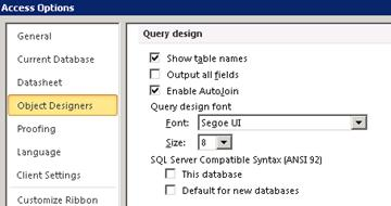 shows the query design settings