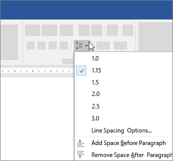 Options to change line spacing in Word