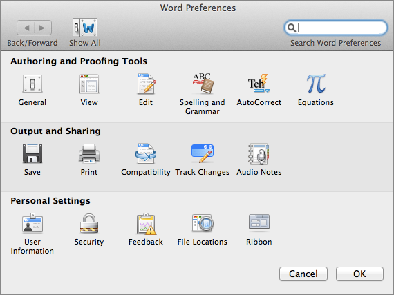 Word Preferences