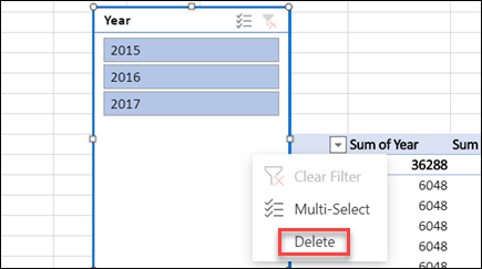 Context menu of PivotTable slicer in Excel for the web