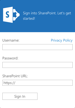 Screenshot of sign in screen for SharePoint Newsfeed iOS device