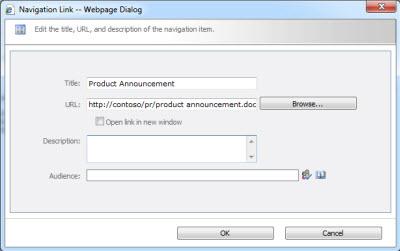Navigation Link dialog box
