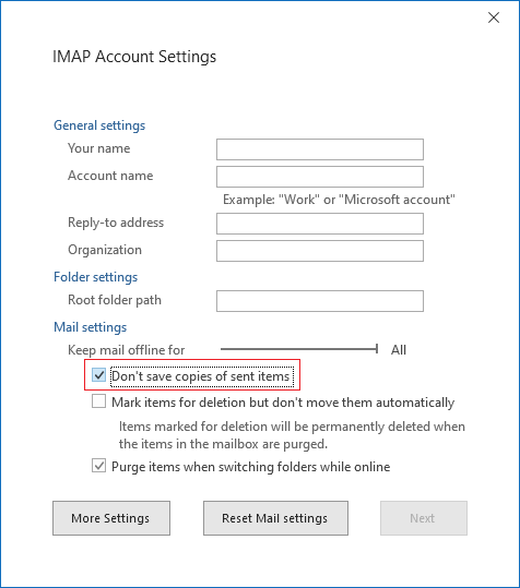 IMAP Account Settings, Don't save copies of Sent Items