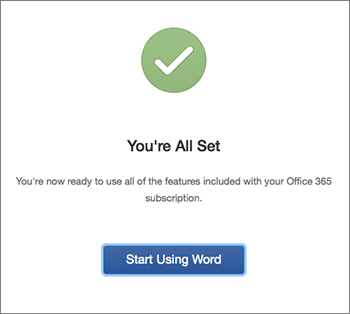 "Screen showing ""You're all done"" with ""Start Using Excel"" button"