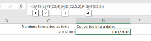 C2 contains 20161001 formatted as text, D2 contains =DATE(LEFT(C2,4),MID(C2,5,2),RIGHT(C2,2)), result is 10/1/2016