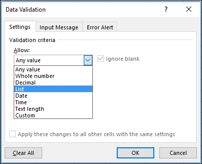Settings tab in Data Validation dialog box