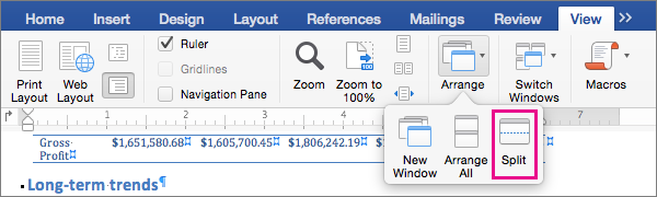 Click Split to divide the Word window into two views of the same document.