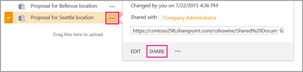 Choose the ellipses next to the file you want to share, and then choose Share.