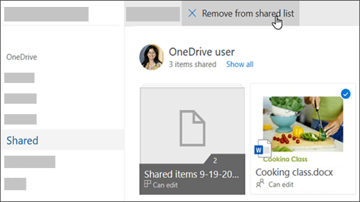 Selected file showing the 'Remove from shared list' option at top