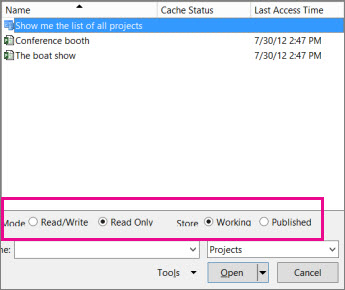 open dialog box showing project web app files