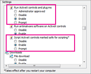 Allow ActiveX controls to load and run in Internet Explorer