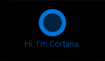 "Cortana logo and the words ""Hi. I'm Cortana."""