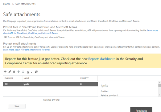 Turn on Advanced Threat Protection for SharePoint Online, OneDrive for Business, and Microsoft Teams