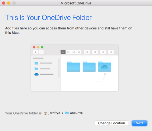 Screenshot of the This is Your OneDrive Folder page in Welcome to OneDrive wizard on a Mac
