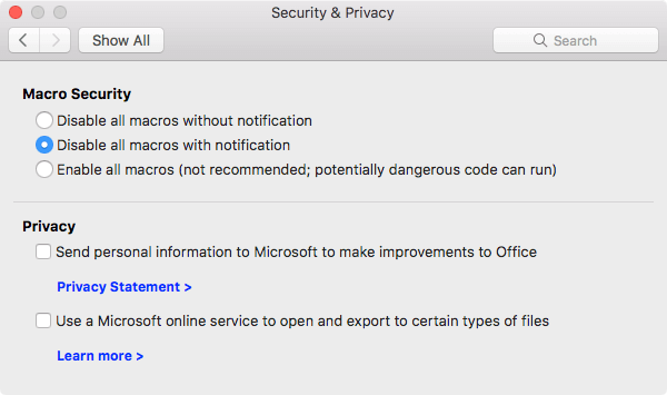 Shows the macro security options for Security & Privacy