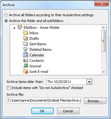 Archive dialog box