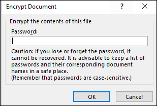 Encrypt Document dialog box
