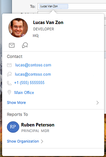 Contact card in Outlook calendar