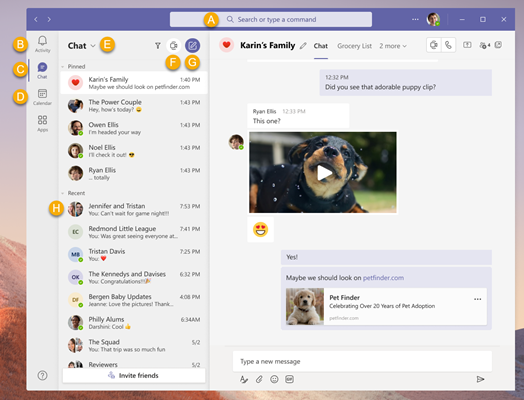 Teams desktop screenshot with callouts