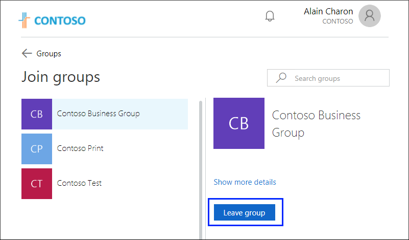 Join groups page, with Leave group button highlighted