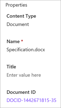 Document ID shown in the details pane