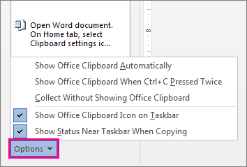 The Clipboard options in Word 2013
