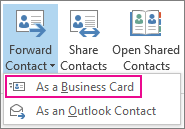 Forward contact as a business card