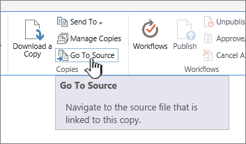 Go to source from the files tab in the ribbon