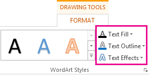 WordArt Styles group on the Drawing Tools Format tab