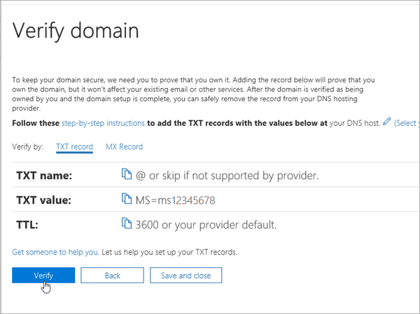 Domainnameshop Verify in Office 365_C3_20176279953