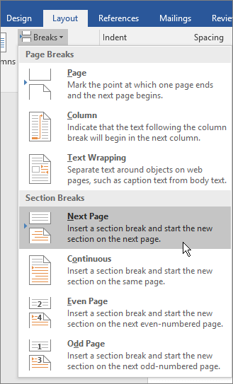 The break options are shown on the Layout tab.