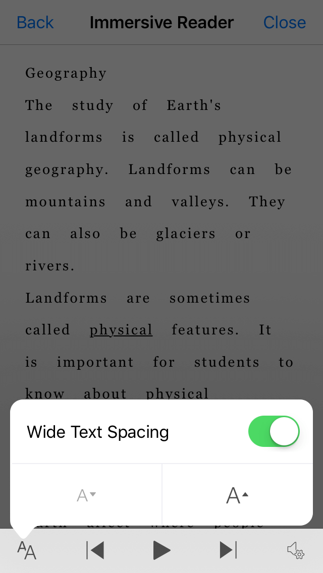 Screenshot of the Office Lens Wide Text Spacing setting toggle.