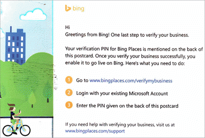 Screenshot: Bing verification postcard for Microsoft Listings