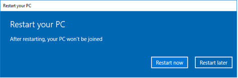 Restart later after disconnecting from the organization