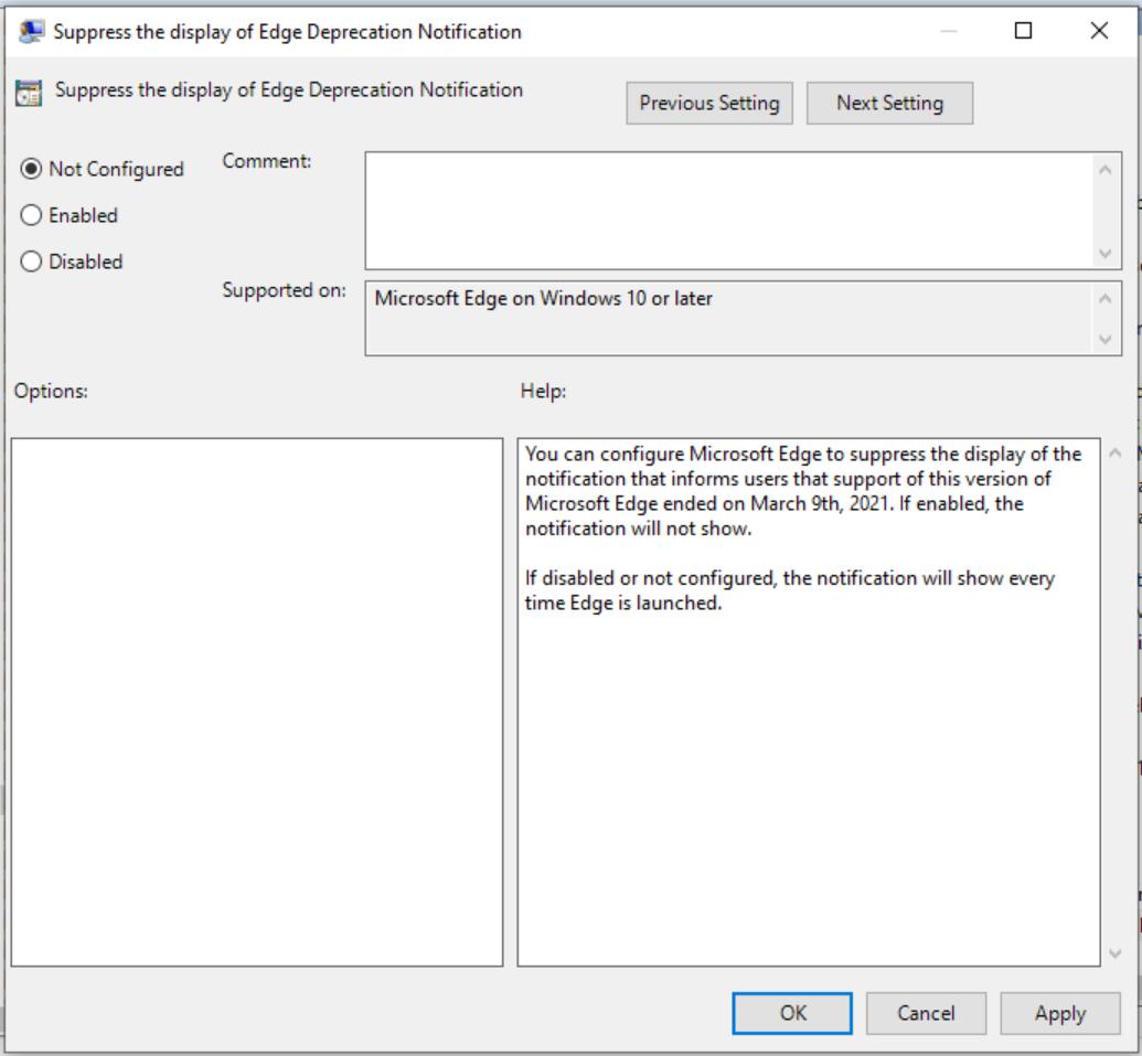 Suppress the display of Edge Deprecation Notification