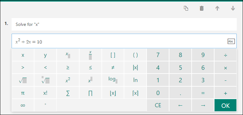 Math keyboard for math formulas