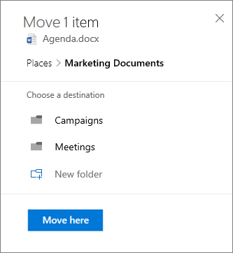Screenshot of moving a file from OneDrive for Business to a SharePoint site