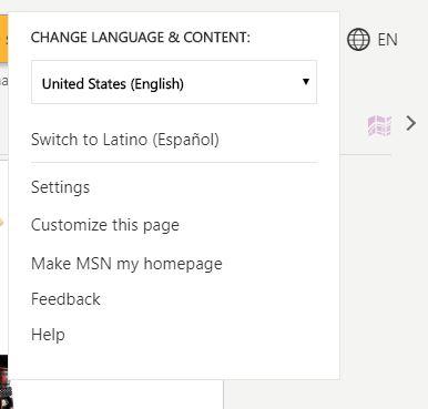 Customize MSN homepage dropdown