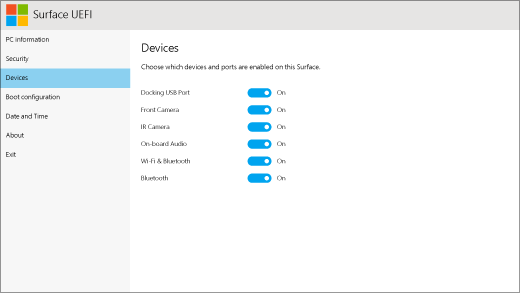 The devices screen for Surface UEFI