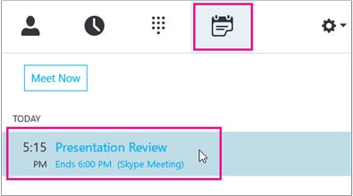 Join a meeting from the Skype for Business Meeting tab