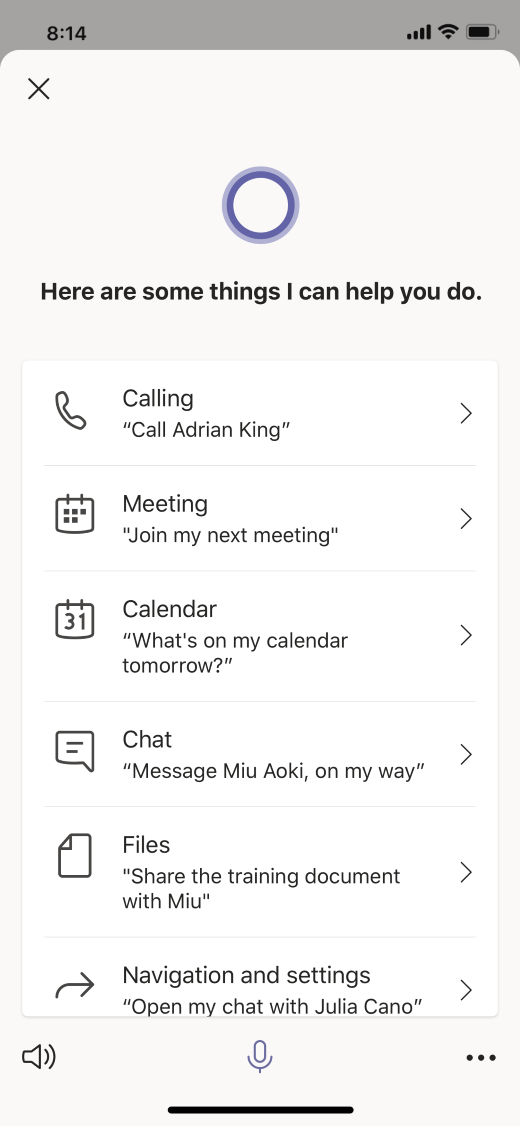 Cortana voice assistance in Teams includes calling, messaging, meeting help, and more