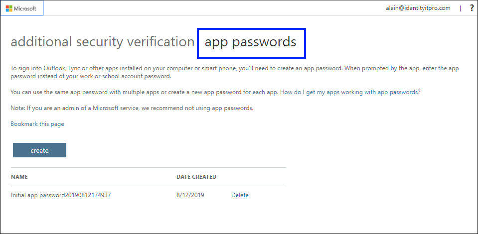 App passwords page, with the App passwords tab highlighted