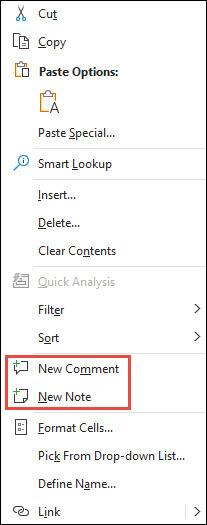 Image of Excel's right-click context menu