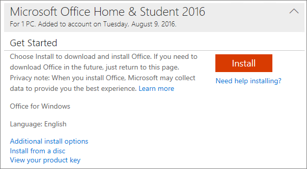 Shows the View your product key link for an Office one-time install