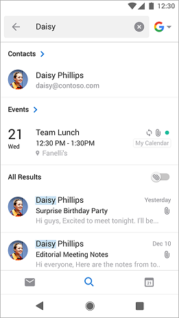 Search results showing all meetings that include the name Daisy