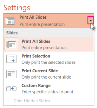 Tip If You Have Any Hidden Slides That Want To Print The Option Is Active And Can Select