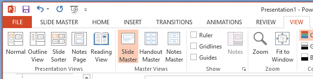The Slide Master button is on the View tab of the ribbon.