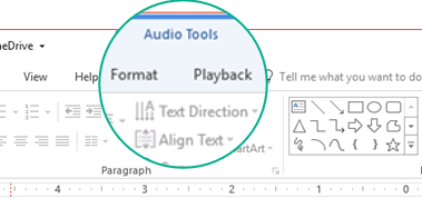 "When an audio clip is selected on a slide, an ""Audio Tools"" section appears on the toolbar ribbon, and it has two tabs: Format and Playback."