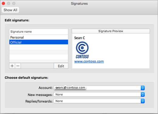 Outlook Preferences Signatures page
