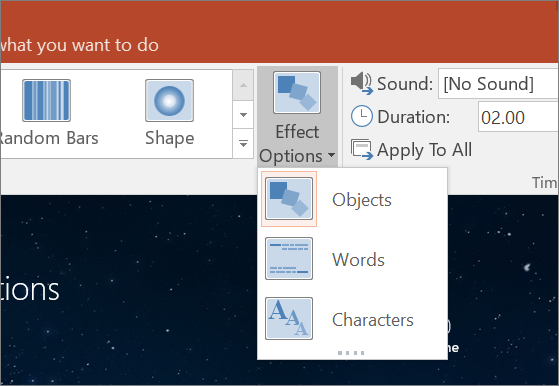 Shows transition effect options for the Morph transition in PowerPoint 2016